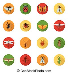 Insects Icons Flat - Insects icons flat set with dragonfly...