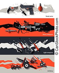 Weapon Banners Set - Weapon horizontal banners set with...