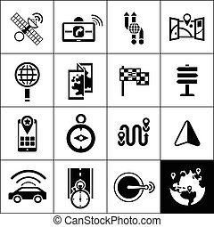 Navigation Icons Black - Navigation icons black set with...