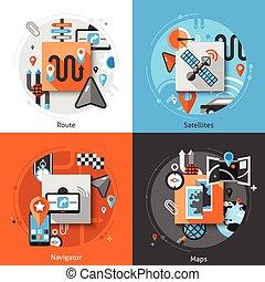 Navigation Icons Set - Navigation design concept set with...