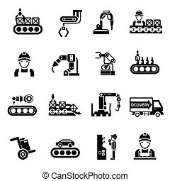 Production Line Icons Black - Production line product...