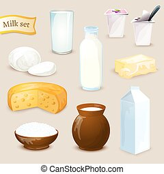 Milk Products Set - Milk food and drink products decorative...