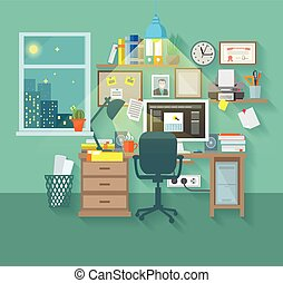 Workspace In Room - Workspace in room interior with desk...
