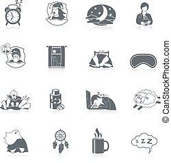 Sleep Time Icon Set - Sleep time black icon set with night...