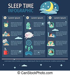 Sleep Time Infographics - Sleep time infographic set with...