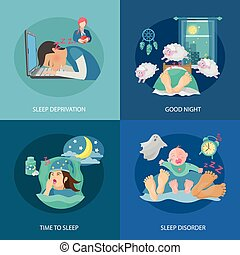 Sleep Time Flat - Sleep time design concept set with...
