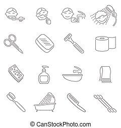 higiene, contorno, iconos