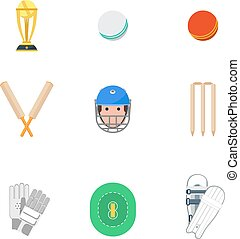 Cricket icons set flat - Cricket sport game icons set with...