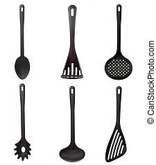 Kitchen utensil - Black kitchen utensil isolated on white...