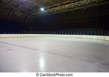 empty ice rink, hockey arena - empty ice rink, hockey and...
