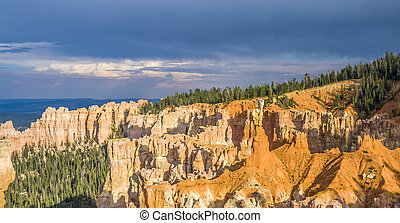 Bryce canyon with spectacular hoodoos in sunrise