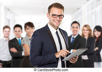Businessman with his team member