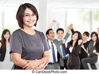 business woman in front of her underlink - business woman in...
