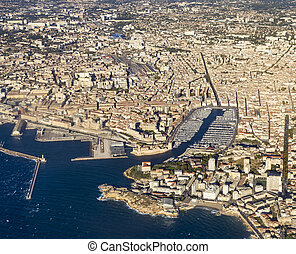 aerial view of Marseille - aerial view of Marseille in...