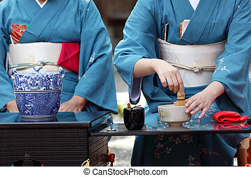 Japanese green tea ceremony in garden