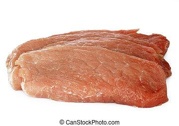 Raw pork cutlet schnitzel - Fresh raw pork cutlet schnitzel...