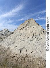 arena, montón,