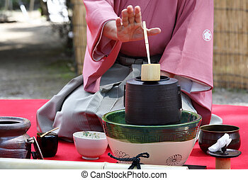 Japanese tea ceremony - Japanese green tea ceremony in...