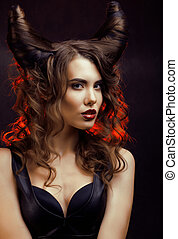 bright mysterious woman with horn hair, halloween...