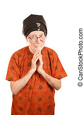 Senior Guru - Senior guru with hands folded in prayer or...