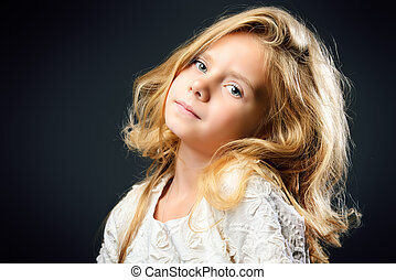 daughter - Close-up portrait of a pretty little girl with...