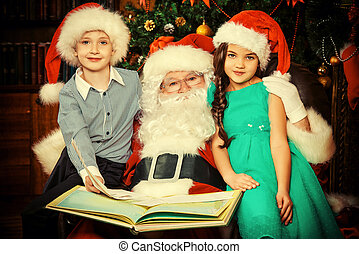 joyful x-mas - Santa Claus reading fairy tales to children...