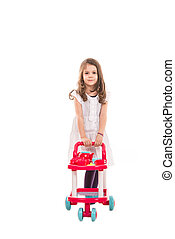 Girl playing with pram toy