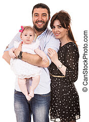 Happy family with baby girl