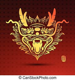 Chinese Dragon - Illustration of Traditional head Chinese...