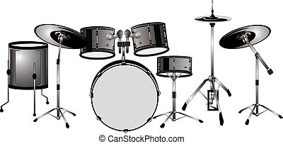 Drummers set ready... isolated illustration.. - Drum set,...
