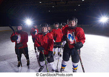 happy children group hockey team sport players - happy...
