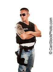 Tough Cop - Tough Hispanic Cop with Pistol in Bulletproof...