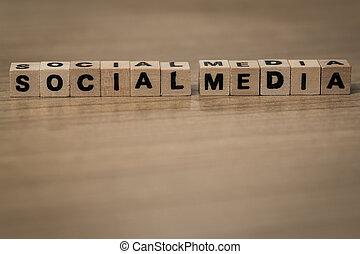 Social Media in wooden cubes