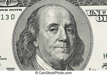 Ben Franklin - Detail of Ben Franklin on the 100 dollar bill