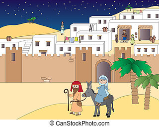 Journey to Bethlehem - Illustration of Mary and Joseph...