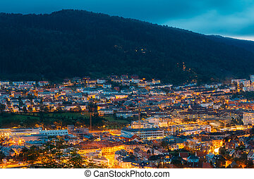 Aerial view Cityscape of Bergen from mountain top, Norway
