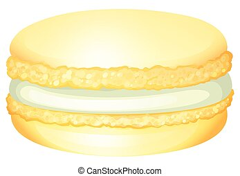 Yellow macaron with cream illustration