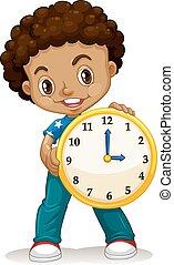African American boy holding a clock illustration