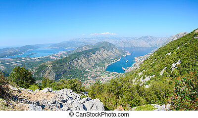 Panoramic view on top of Kotor and Tivat Bay, Montenegro -...