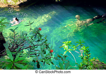Tropical green waterfall pond at escambray, cuba - Detail of...