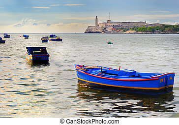Fishing Boats in Havana bay - A view of rustic fishing boat...