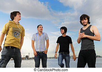 Happy casual boys standing - Portrait of young trendy...