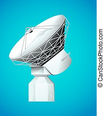 Satellite dish on blue background