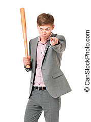 Man with baseball bat - Anger man in suit with wooden...