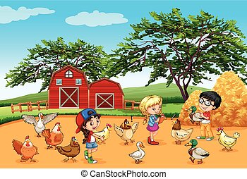 Children feeding animals in the farm illustration