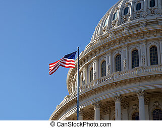 Capitol Dome - The United States Capitol dome and flag in...