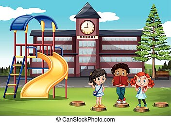 Children standing in front of school illustration