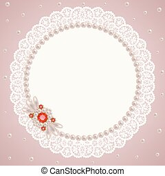 Lace pearl napkin - Lacy napkin decorated with pearls and...