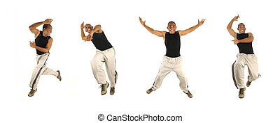 African man jumping in 4 poses - Four poses of young...