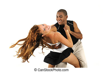 Multiracial couple dancing isolated - Portrait of african...